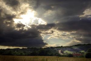 September Storm Clouds over Village